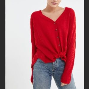 UO Out from Under Red Oversized Knit Blouse Size M